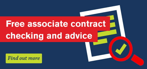Free associate contract checking and advice banner