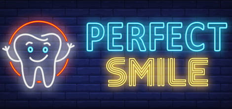 Neon sign offering perfect smile
